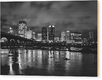 Richmond Skyline At Night Wood Print