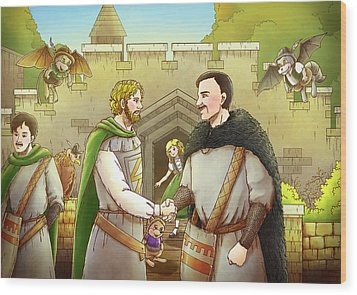 Robin Hood And The Captain Of The Guard Wood Print