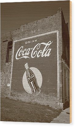 Route 66 - Coca Cola Ghost Mural Wood Print by Frank Romeo