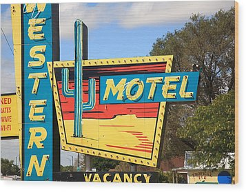 Route 66 - Western Motel Wood Print