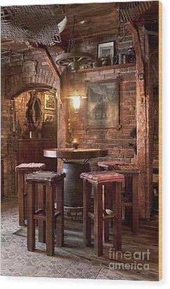 Rustic Restaurant Seating Wood Print by Jaak Nilson