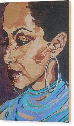 Sade Adu Wood Print by Rachel Natalie Rawlins
