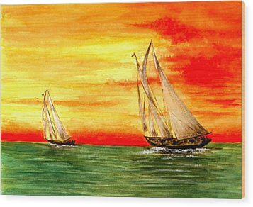 2 Sailboats Wood Print by Michael Vigliotti