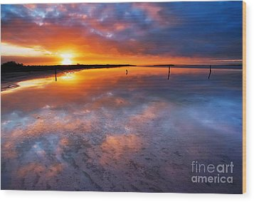 Salt Pan Sunrise Wood Print by Bill  Robinson