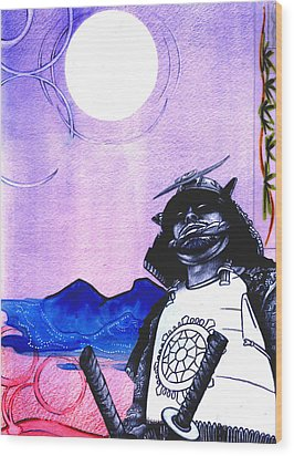 Samurai  Art For Seven Card Samurai Wood Print by Chris Montecalvo