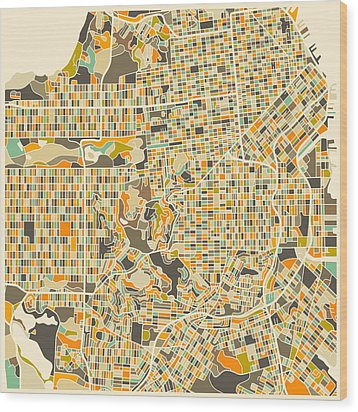 San Francisco Map Wood Print by Jazzberry Blue