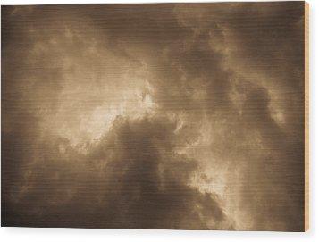 Sepia Clouds Wood Print