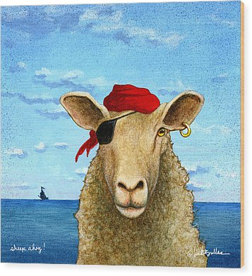 Wood Print featuring the painting Sheep Ahoy by Will Bullas
