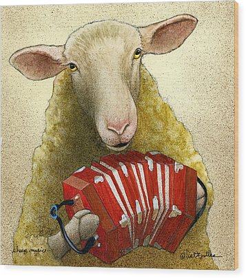 Wood Print featuring the painting Sheep Music... by Will Bullas