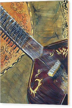 Wood Print featuring the painting Sitar 1 by Amanda Dinan