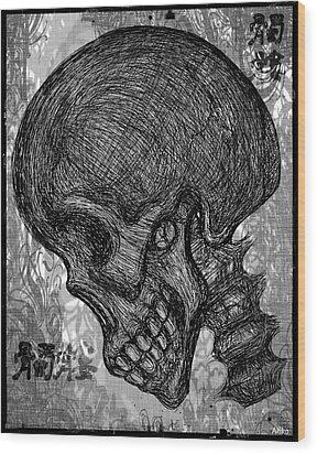 Gothic Skull Wood Print by Akiko Okabe