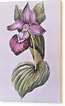 Wood Print featuring the painting Slipper Foot Orchid by Mindy Newman