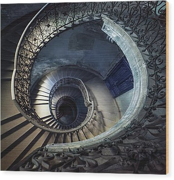 Spiral Staircase With Ornamented Handrail Wood Print by Jaroslaw Blaminsky