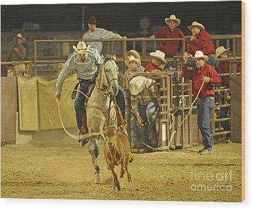 Steer Wrestling Wood Print by Dennis Hammer