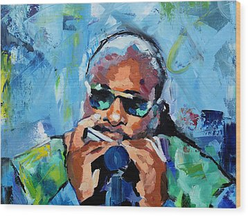 Wood Print featuring the painting Stevie Wonder by Richard Day