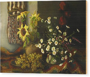 Still-life With Sunflowers Wood Print by Tigran Ghulyan
