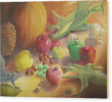 Sunlit Harvest Wood Print by Sharon Casavant
