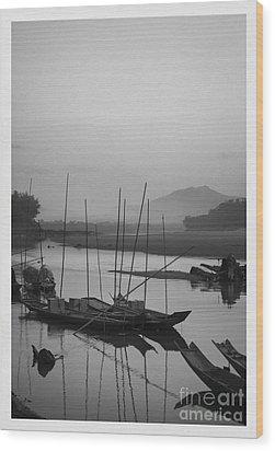 sunset at Mae Khong river Wood Print by Setsiri Silapasuwanchai