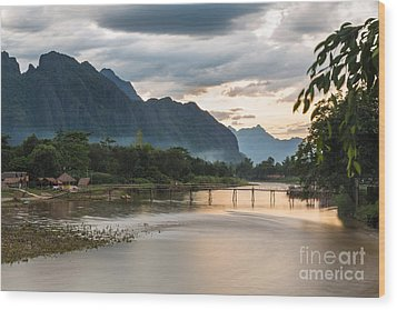 Sunset Over Vang Vieng River In Laos Wood Print