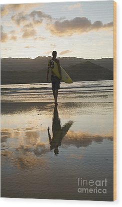 Sunset Surfer Wood Print by Kicka Witte - Printscapes
