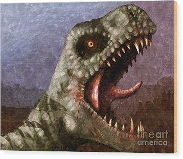 T-rex  Wood Print by Pixel  Chimp