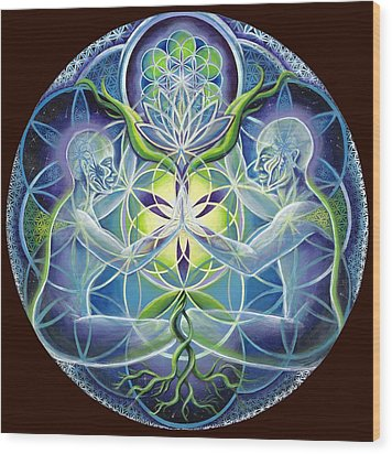 The Flowering Of Divine Unification Wood Print by Morgan  Mandala Manley