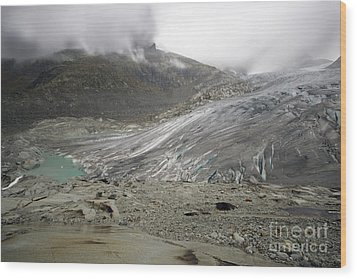 The Glacier Wood Print by Angel  Tarantella