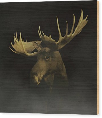 Wood Print featuring the digital art The Moose by Ernie Echols