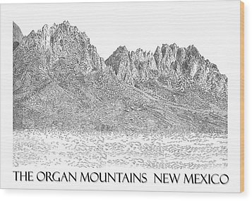 Wood Print featuring the painting The Organ Mountains by Jack Pumphrey