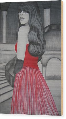 The Red Dress Wood Print