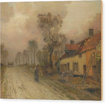 Wood Print featuring the painting The Route Nationale At Samer by Jean-Charles Cazin