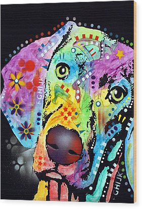 Wood Print featuring the painting Thoughtful Weimaraner by Dean Russo
