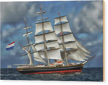 Three Mast Schooner Wood Print