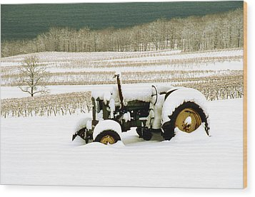 Tractor In Snowy Vineyard Wood Print