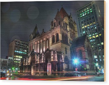 Wood Print featuring the photograph Trinity Church - Copley Square Boston by Joann Vitali
