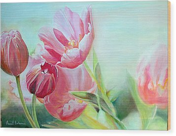 Tulipes Wood Print by Muriel Dolemieux