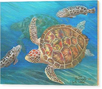 Turtle Collage Wood Print by Eleonora Mingazova