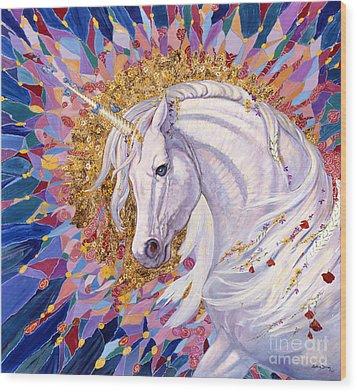 Unicorn II Wood Print by Silvia  Duran