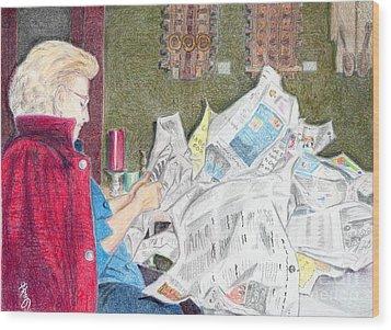 Wood Print featuring the drawing Unwrap by Yoshiko Mishina
