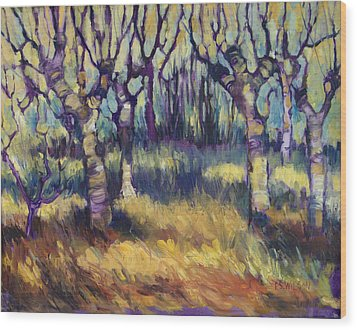 Van Gogh's Orchard Wood Print by Peggy Wilson