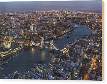 View From The Shard London Wood Print by Ian Hufton