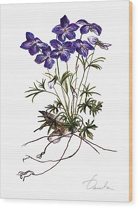 Violets Wood Print by Danuta Bennett