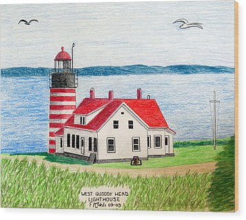 West Quoddy Head Lighthouse Wood Print by Frederic Kohli