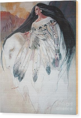 White Buffalo Calf Woman Wood Print