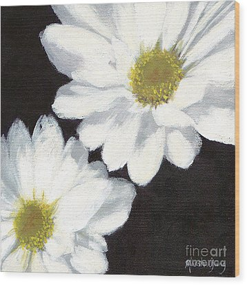 White Daisies Wood Print by Marsha Young