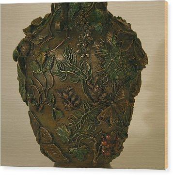 Wildflower Vase Detail Wood Print by Dawn Senior-Trask