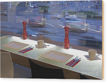 Window Seating In An Upscale Cafe Wood Print by Jaak Nilson