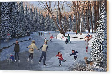Winter Fun At Bowness Park Wood Print by Neil Woodward