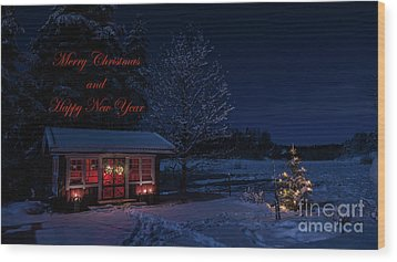 Wood Print featuring the photograph Winter Night Greetings In English by Torbjorn Swenelius