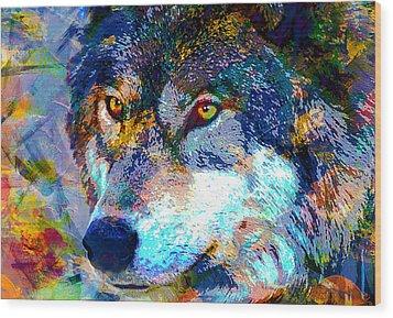 Wolf Wood Print by Elena Kosvincheva